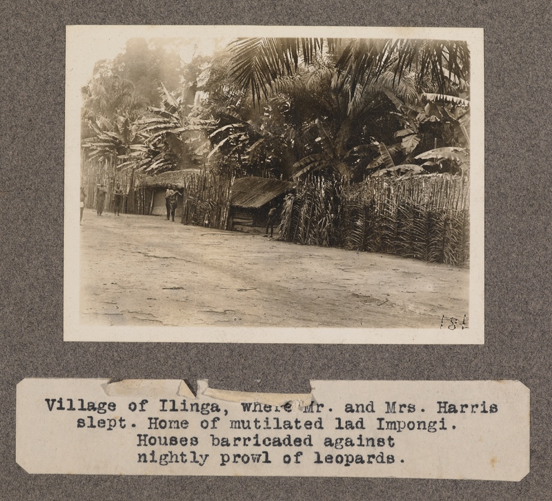 Village of Ilinga, where Mr. and Mrs. Harris slept. Home of mutilated lad Impongi. Houses barricaded against nightly prowl of leopards