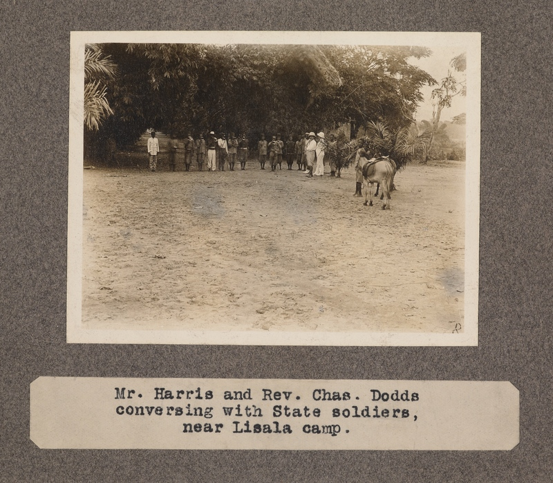 Mr. Harris and Rev. Chas. Dodds conversing with state soldiers, near Lisala camp