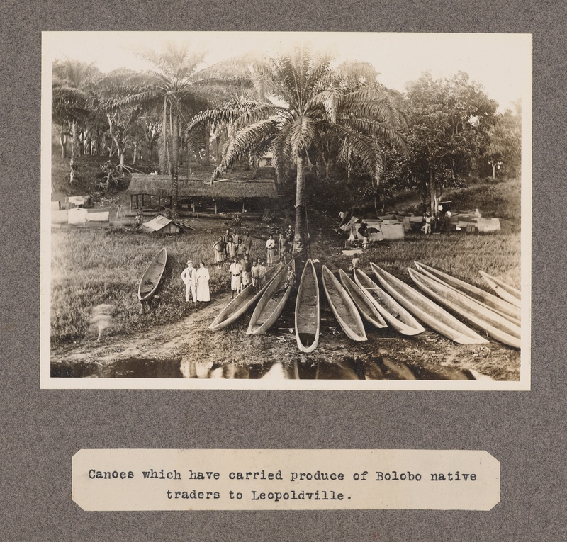 Canoes which have carried produce of Bolobo native traders to Leopoldville