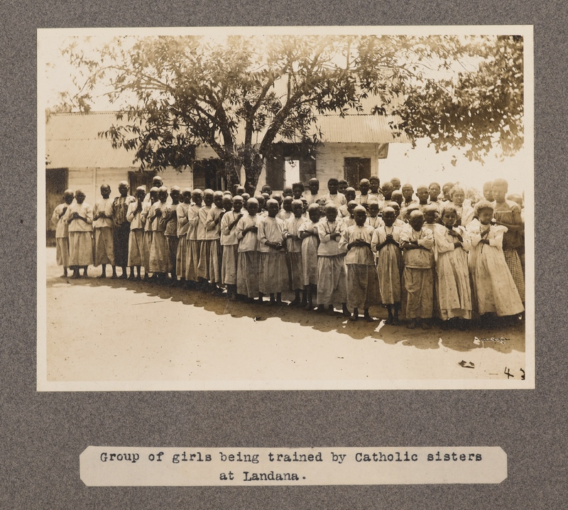 Group of girls being trained by Catholic sisters at Landana