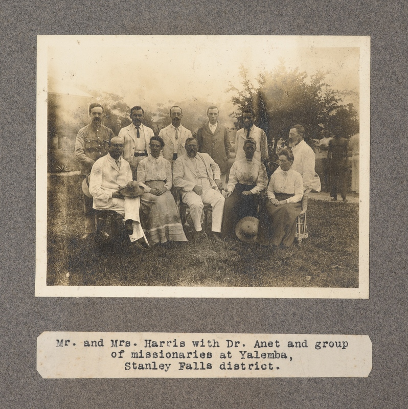 Mr. and Mrs. Harris with Dr. Anet and group of missionaries at Yalemba, Stanley Falls District