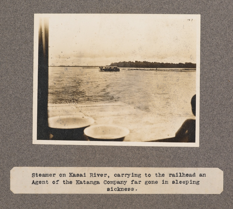 Steamer on Kasai River, carrying to the railhead an agent of the Katanga Company far gone in sleeping sickness