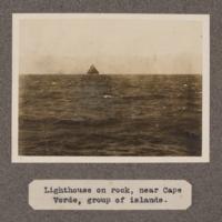 Lighthouse on rock, near Cape Verde, group of islands