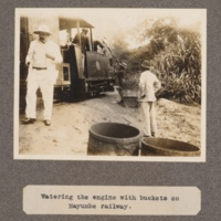 Watering the engine with buckets on Mayumbe railway