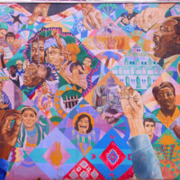 David Fichter, Freedom Quilt Mural, painted for the Rainbow Coalition during the DNC, 92 Piedmont Ave (Black Neighborhood), Atlanta, 1988.jpg