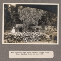 Wood cutting post above Bopoto, upper Congo. Rev. Charles Dodds on the left