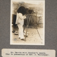 Mr. Harris with Stanley's camera. (Now in possession of Rev. J. Whitehead)